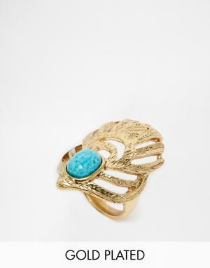 Taara Jewellery Кольцо с растительным дизайном, бирюзой и покрытием из 22-каратного зо