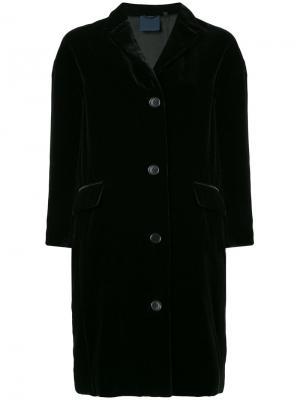 Длинный бархатный пиджак Aspesi. Цвет: чёрный