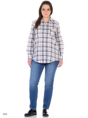 Рубашка xLady. Цвет: белый, синий, бледно-розовый