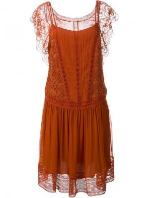 Кружевное платье Alberta Ferretti. Цвет: красный