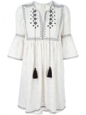 Платье с вышивкой и кисточками Talitha. Цвет: белый