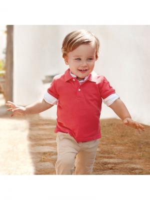 Рубашка-поло Mayoral. Цвет: розовый