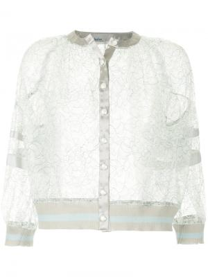 Укороченная кружевная куртка Kolor. Цвет: серый