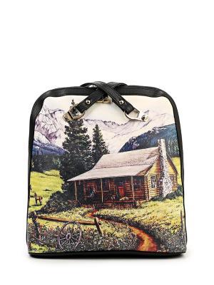 Сумка-рюкзак AnnA Wolf. Цвет: черный, зеленый, светло-бежевый