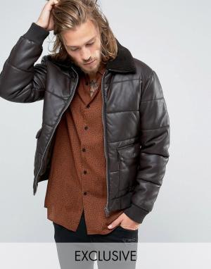 Black Phoenix Коричневая стеганая куртка-пилот из искусственной кожи с отстегивающим. Цвет: коричневый