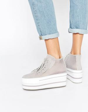 YRU Elevation Flatform High Top Trainers. Цвет: серый