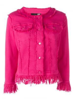 Джинсовый пиджак с необработанными краями Love Moschino. Цвет: розовый и фиолетовый