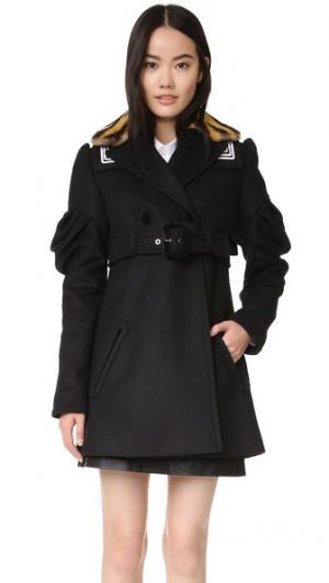 Пальто-тренч с оборчатыми рукавами KENZO. Цвет: голубой