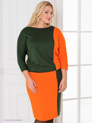 Платье Magnolica. Цвет: оранжевый, темно-зеленый