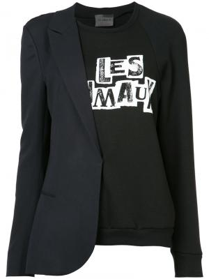 Комбинированная толстовка-пиджак Les Animaux. Цвет: чёрный
