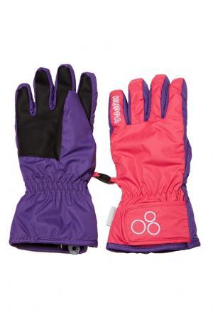 Двухцветные зимние перчатки Huppa. Цвет: розовый