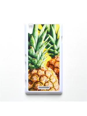 Чехол для Sony Xperia T3 Ананас Boom Case. Цвет: светло-зеленый, светло-желтый