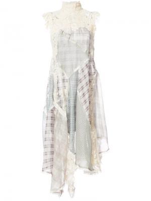 Асимметричное платье Spliced Plaid Zimmermann. Цвет: многоцветный