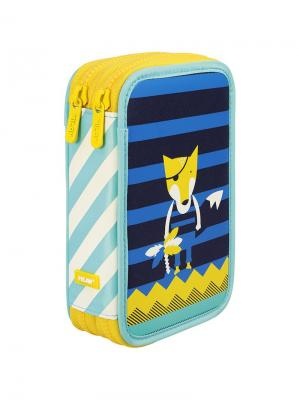 Пенал 2 отделения Milan. Цвет: синий, желтый, черный