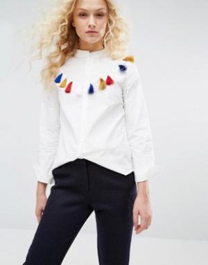 I Love Friday Рубашка с бахромой. Цвет: белый