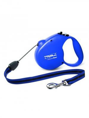 Поводок-рулетка Standard Blue S 5м до 12кг, трос, Triol by flexi.. Цвет: синий