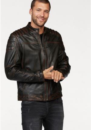 Кожаная куртка Maze. Цвет: коричневый