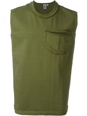 Майка с нагрудным карманом Telfar. Цвет: зелёный