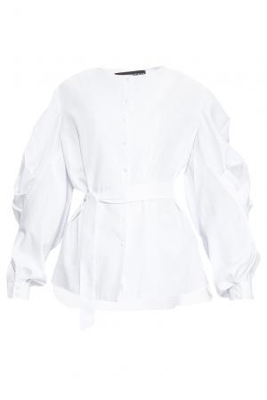 Блуза из хлопка с поясом 164346 Anna Dubovitskaya. Цвет: белый
