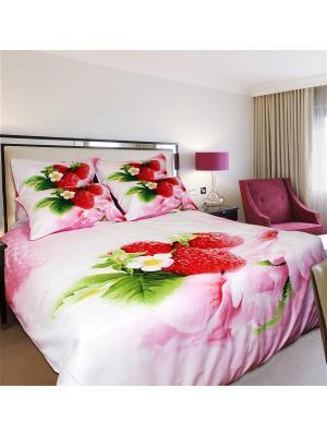 Постельное белье Strawberry 2,0 сп. Buenas Noches. Цвет: белый, зеленый, розовый