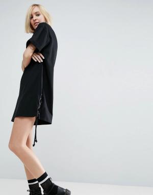 ASOS Платье-футболка со шнуровкой по бокам. Цвет: черный