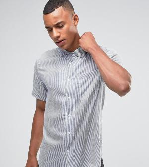 Only & Sons Облегающая рубашка из вискозы в полоску с короткими рукавами So. Цвет: темно-синий