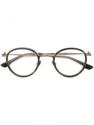 Солнцезащитные очки в круглой оправе Kiton. Цвет: зелёный