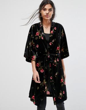 Pieces Бархатное кимоно с цветочным принтом Fille. Цвет: черный