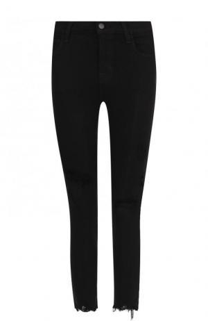 Укороченные джинсы-скинни с потертостями J Brand. Цвет: черный