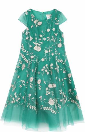 Платье свободного кроя с цветочной вышивкой David Charles. Цвет: зеленый