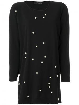 Блузка с жемчужной отделкой Maria Calderara. Цвет: чёрный