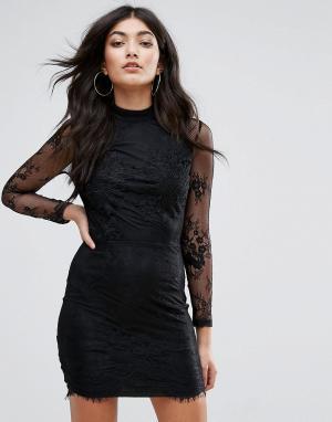 Girl In Mind Кружевное облегающее платье. Цвет: черный