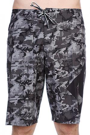 Пляжные мужские шорты DC Lanai Ess 4 Boardshort Camo Black Shoes. Цвет: черный,зеленый,камуфляжный