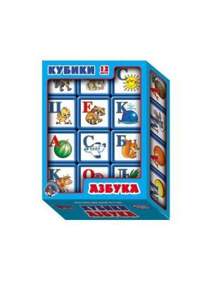 Выдувка. Кубики с бортиком Азбука 12 эл (5,5 см) Десятое королевство. Цвет: белый, голубой