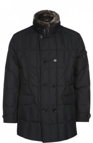 Стеганая куртка с меховой отделкой воротника Moorer. Цвет: темно-синий