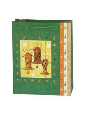 Пакет бумажный подарочный, 20х25х9см, 3 штуки СНОУБУМ. Цвет: зеленый
