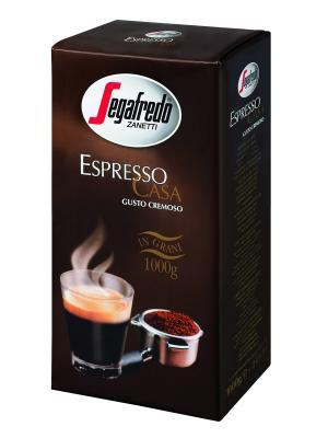 Кофе Segafredo ESPRESSO CASA 1000гр. зерно, 1 ПАЧКА Zanetti. Цвет: черный