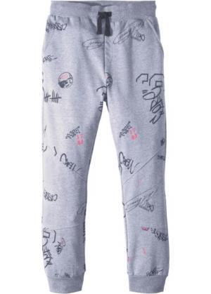 Трикотажные брюки со стильным принтом (серый меланж) bonprix. Цвет: серый меланж
