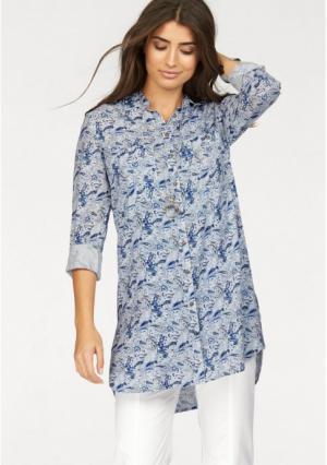 Удлиненная блузка BOYSENS BOYSEN'S. Цвет: синий/белый с рисунком
