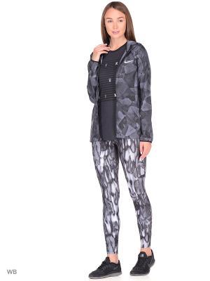 Куртка W NK ESSNTL JKT HD PR Nike. Цвет: черный, серо-голубой