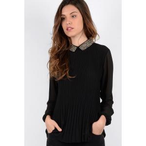 Блузка однотонная с отложным воротником и длинными рукавами MOLLY BRACKEN. Цвет: черный