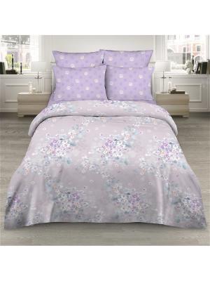 Комплект постельного белья из сатина 2 спальный Василиса. Цвет: сиреневый