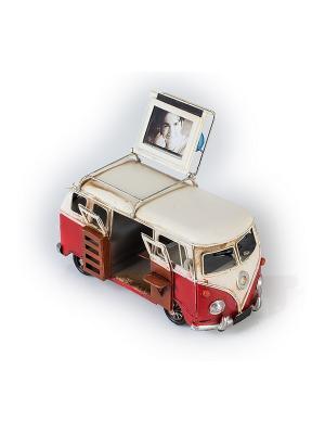 Модель Ретро Автобус красный с белым фоторамкой 4х5см PLATINUM quality. Цвет: красный, белый