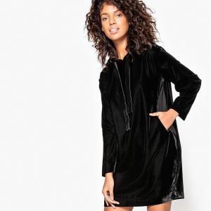 Платье-свитшот из велюра, с капюшоном MADEMOISELLE R. Цвет: розовый телесный,черный