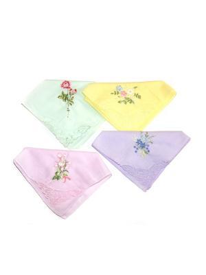 Носовой платок, 4 шт Lola. Цвет: светло-зеленый, светло-желтый, сиреневый