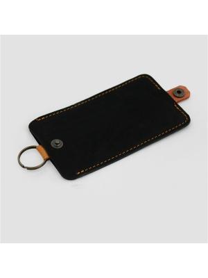 Ключница натуральная кожа с кольцом IN.HAND. Цвет: черный, оранжевый