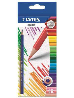 Lyra OSIRIS 12цв.цветные карандаши, треуг.сечение. Цвет: красный, белый, синий