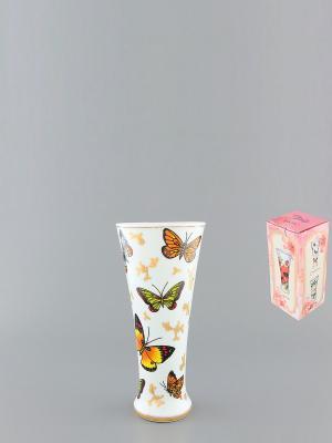 Ваза Бабочки Elan Gallery. Цвет: белый, коричневый, золотистый