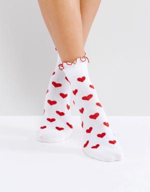 Lazy Oaf Носки с красным сердцем. Цвет: красный