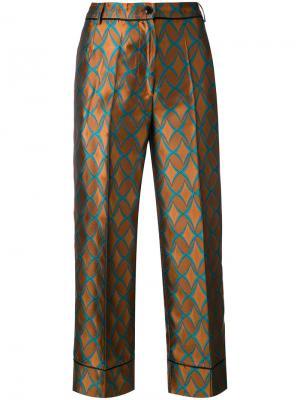 Укороченные брюки с геометрическим принтом Jucca. Цвет: коричневый